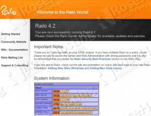 railo welcome screen