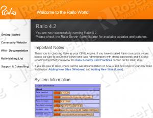 railo welcome screen