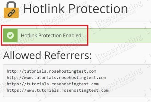 Turn on Hotlinking in cPanel