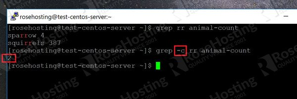 grep command counting the number of matching lines