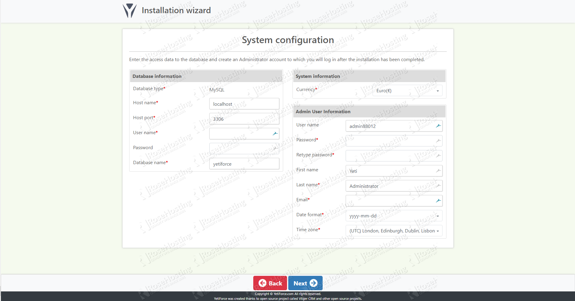 YetiForce System Configuration Setup Screen