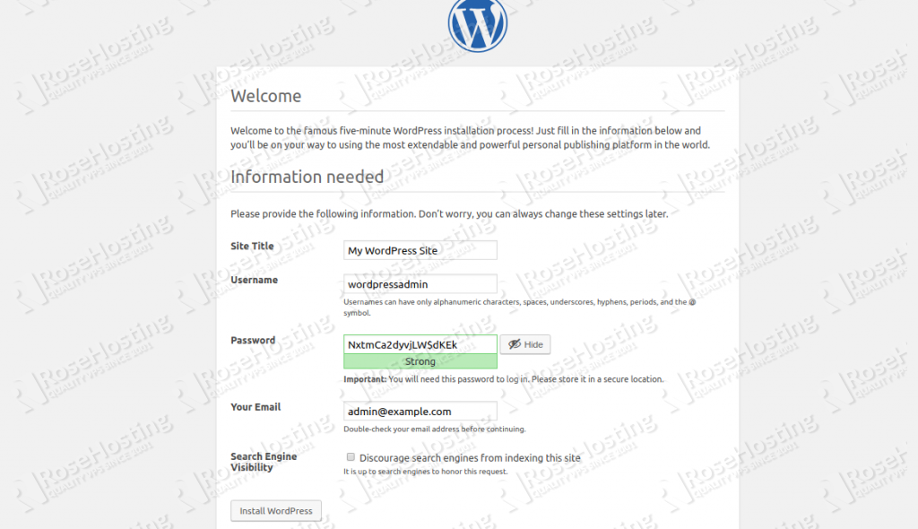 wordpress installation step 2