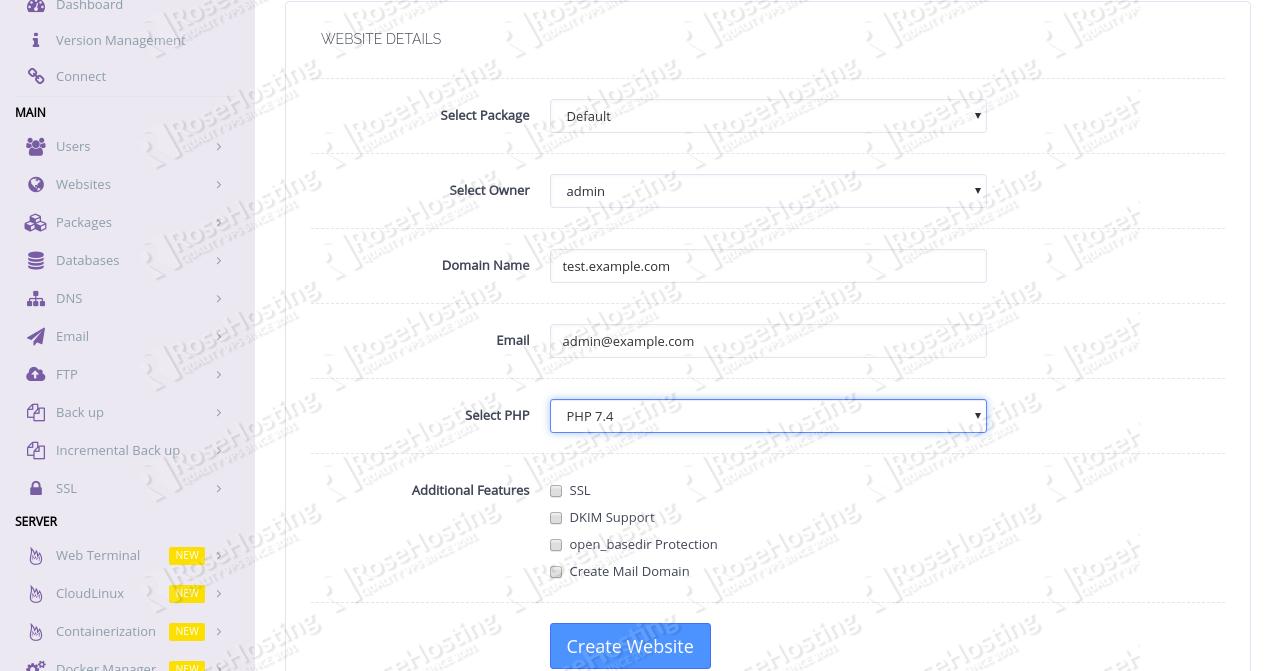 Configuring CyberPanel Website