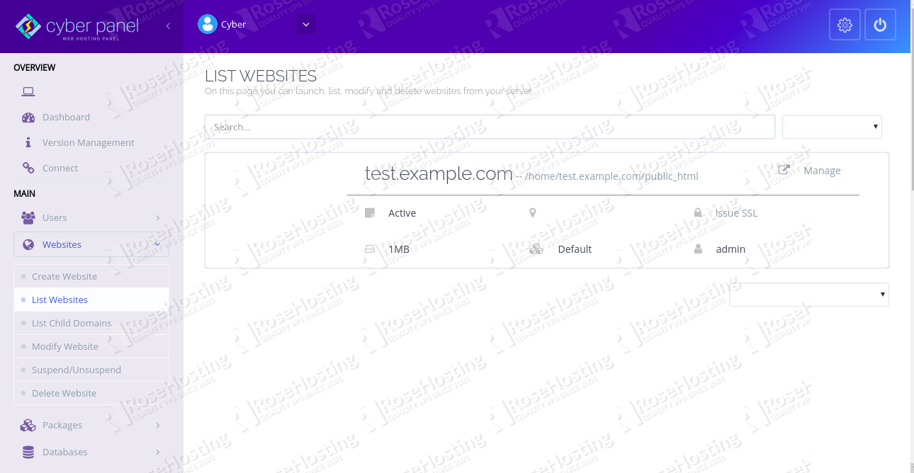 Website visible on CyberPanel Dashboard