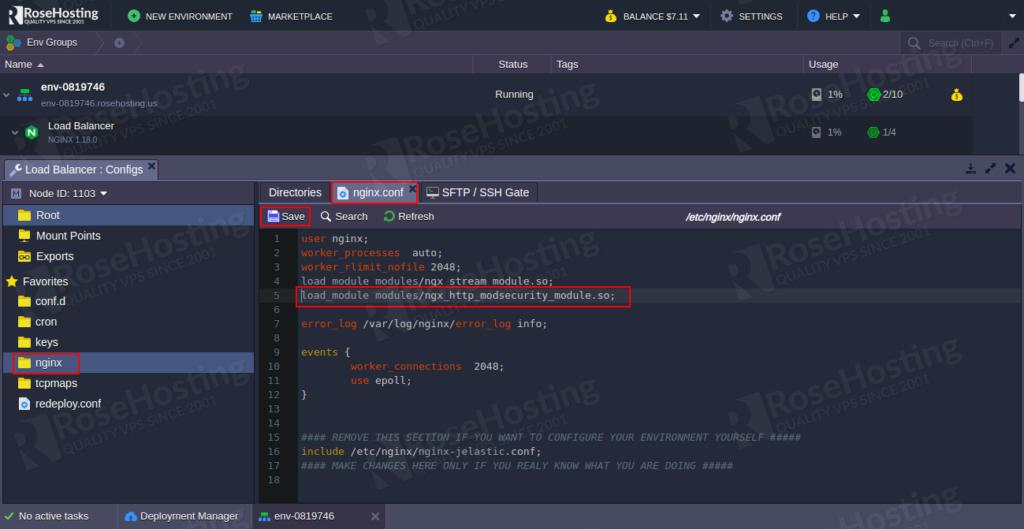 enable modsecurity web application firewall inside nginx server on the rosehosting cloud platform guide