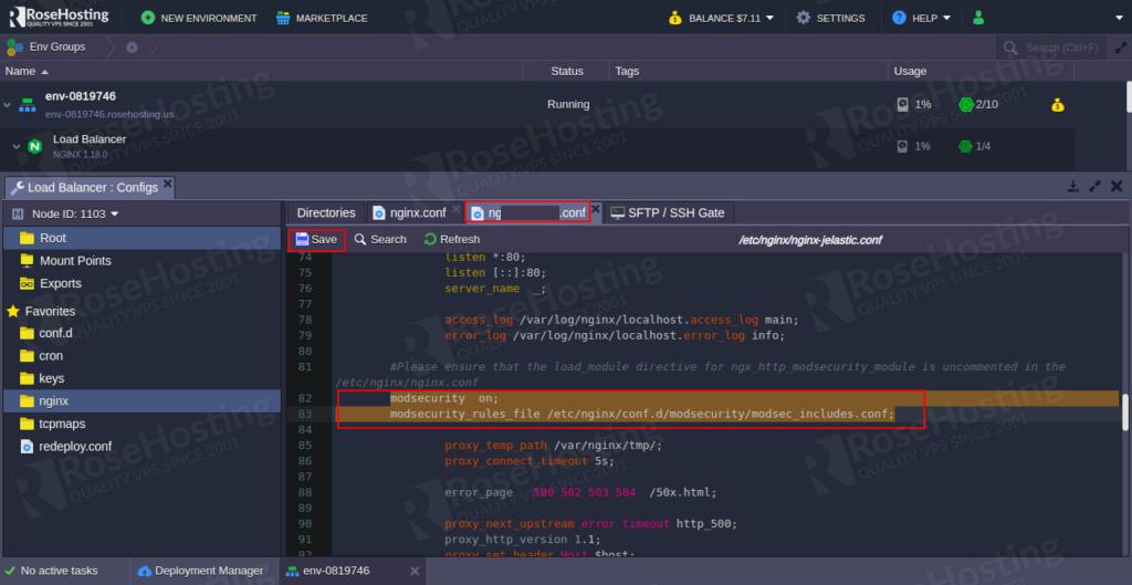 enable modsecurity web application firewall inside nginx server on the rosehosting cloud platform steps