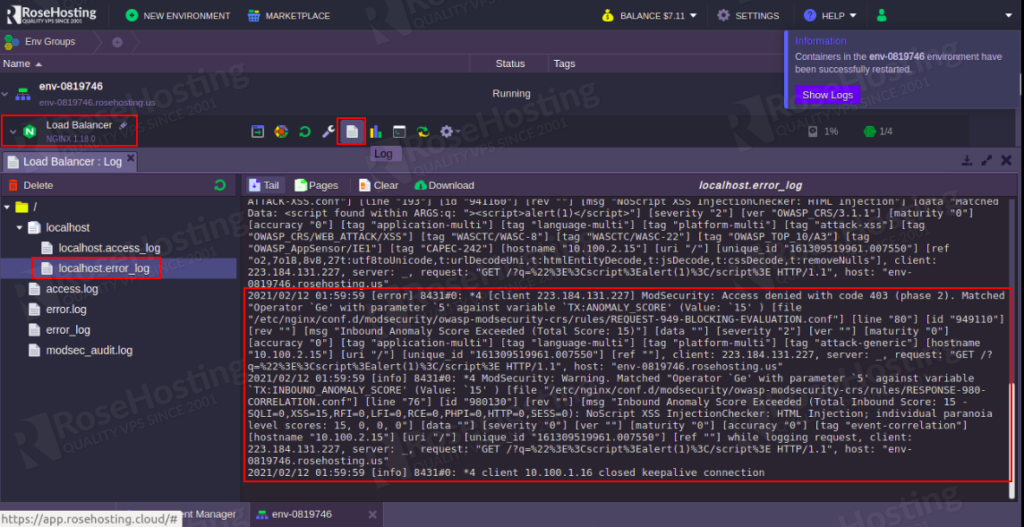 enabling modsecurity web application firewall inside nginx server on the rosehosting cloud platform