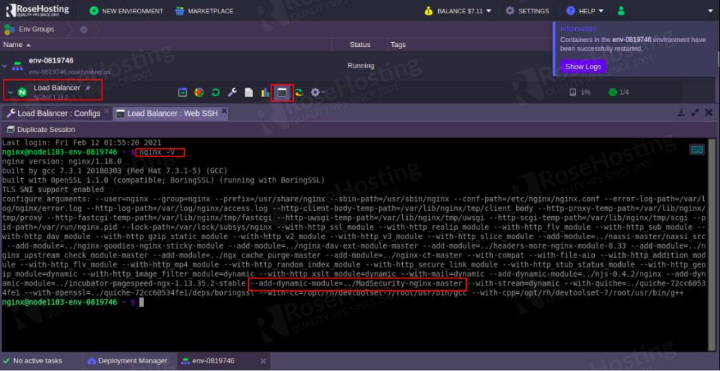 how do you enable modsecurity web application firewall inside nginx server on the rosehosting cloud platform