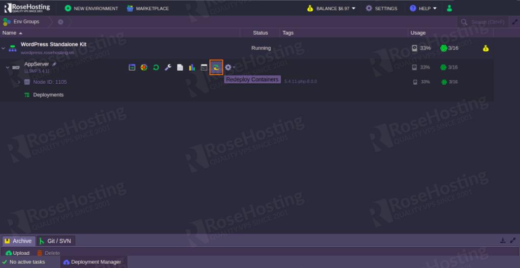 managing wordpress hosting in elastic standalone container