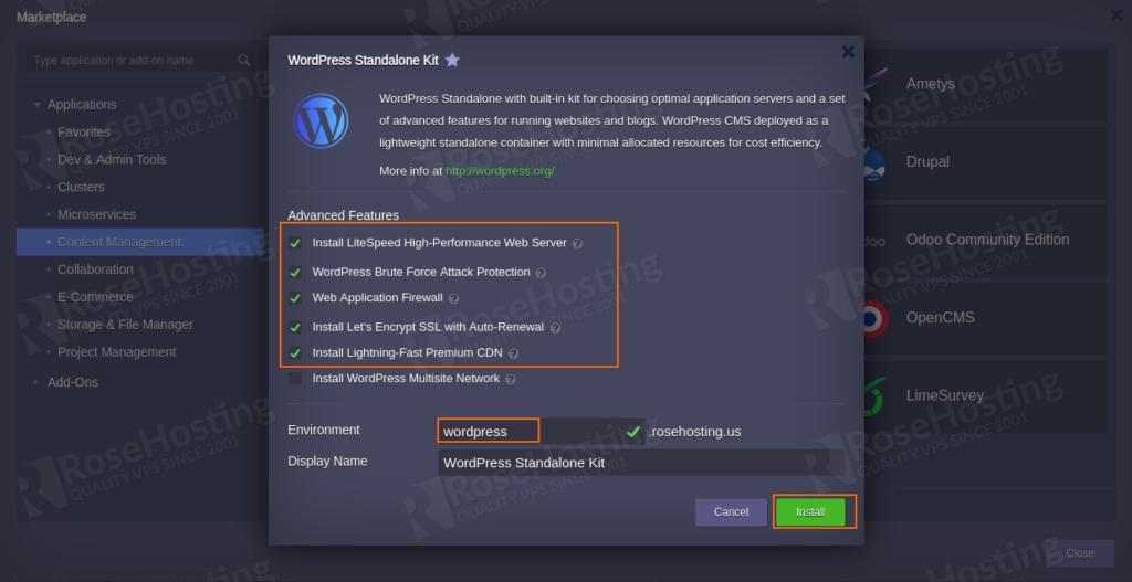 wordpress hosting in elastic standalone container settings
