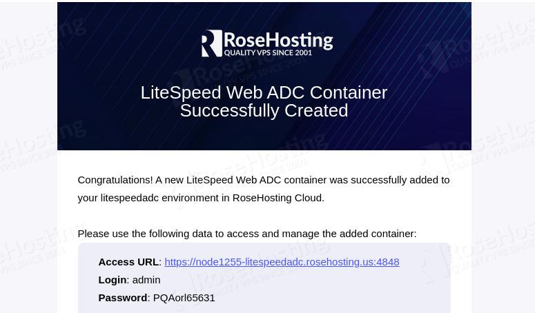 create litespeed web adc container