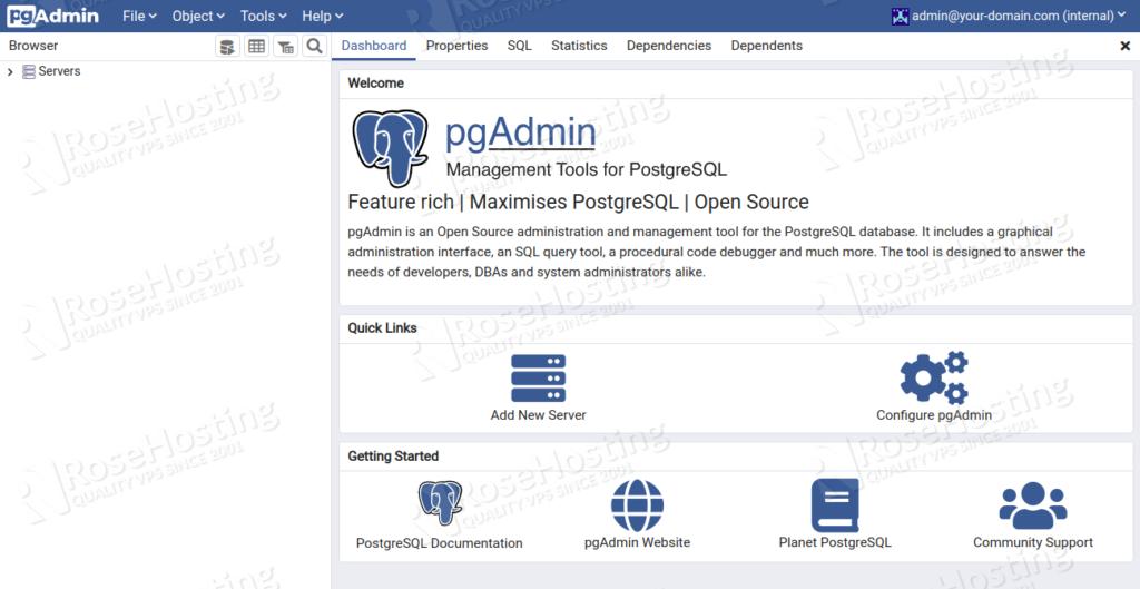 how to set up pgAdmin 4 on Debian 10
