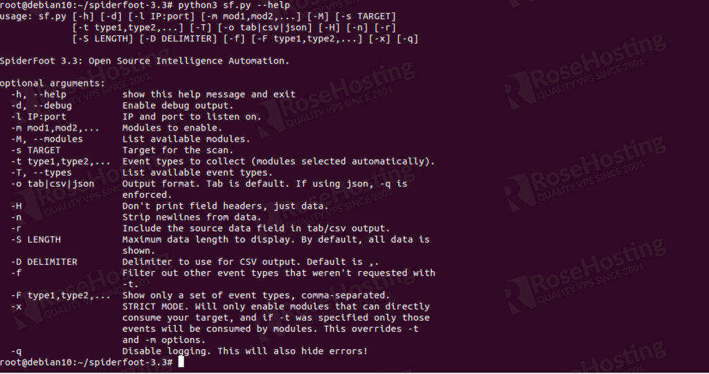 install spiderfoot security scanner on debian 10