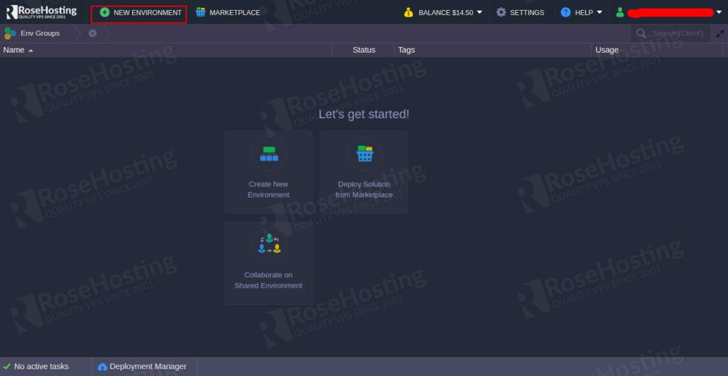 log in rosehosting cloud platform mariadb galera cluster