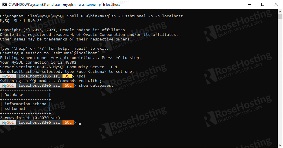 get access to database remotely through an ssh tunnel