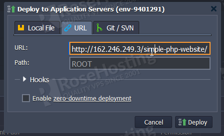 apache and php configuration on rosehosting cloud paas
