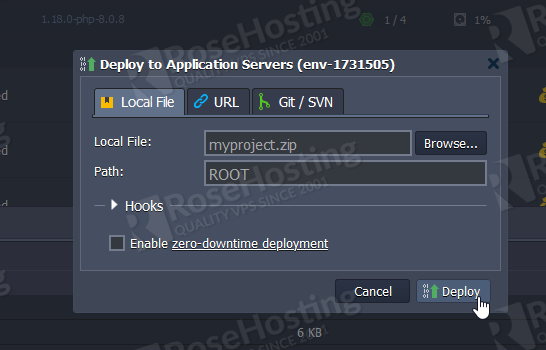 php and nginx installation on rosehosting paas