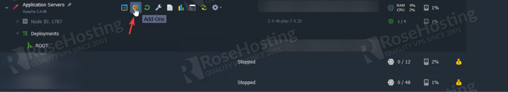 rosehosting cloud paas installation of apache and php